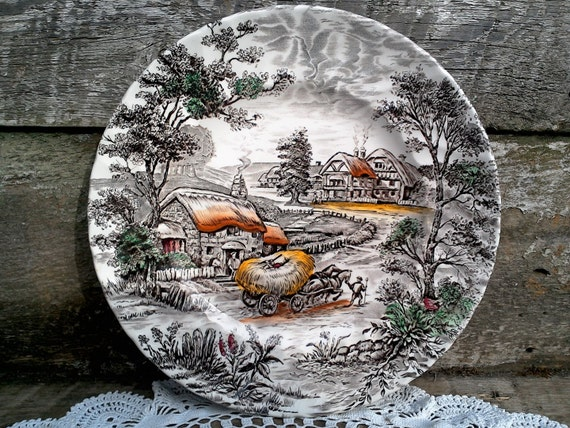 "Brown Transferware ""Yorkshire"" ~ Dinner Plate  9 7/8""  ~ English Transferware ~ Wall Decor ~ Serving"