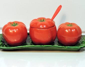 Condiment Set Vintage Occupied Japan Tomato Salt & Pepper Mustard