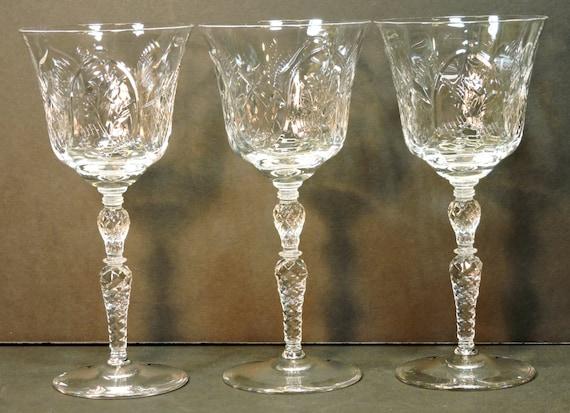 antique wine glasses vintage cut glass long stem by mainetrader. Black Bedroom Furniture Sets. Home Design Ideas