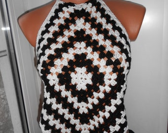 Crochet Top Halter Top Crochet Tank  Kontrasts    Free Shipping