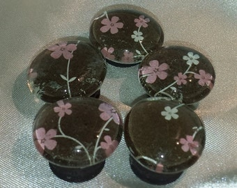 Pink and Brown Cherry Blossom Glass Marble Magnets