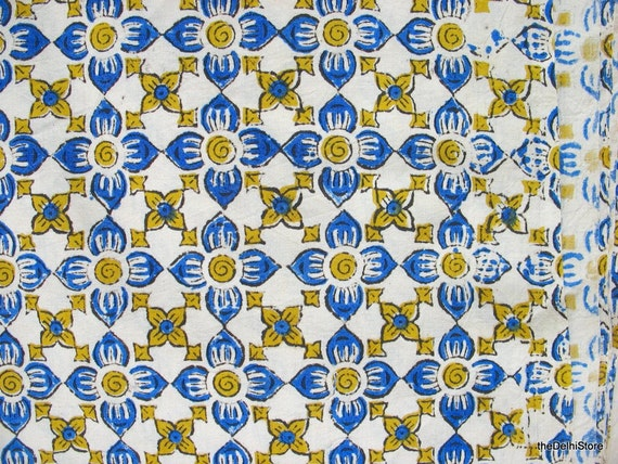 Hand Printed Fabric Vegatable Dye Kalamkari Cotton Fabric