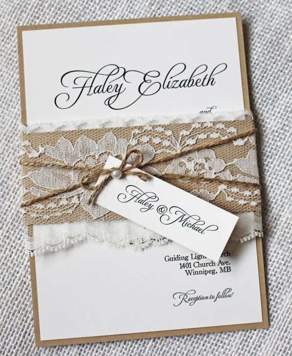 Wedding Invitations With Lace: Lace Wedding Invitations Rustic Wedding Invitation Elegant