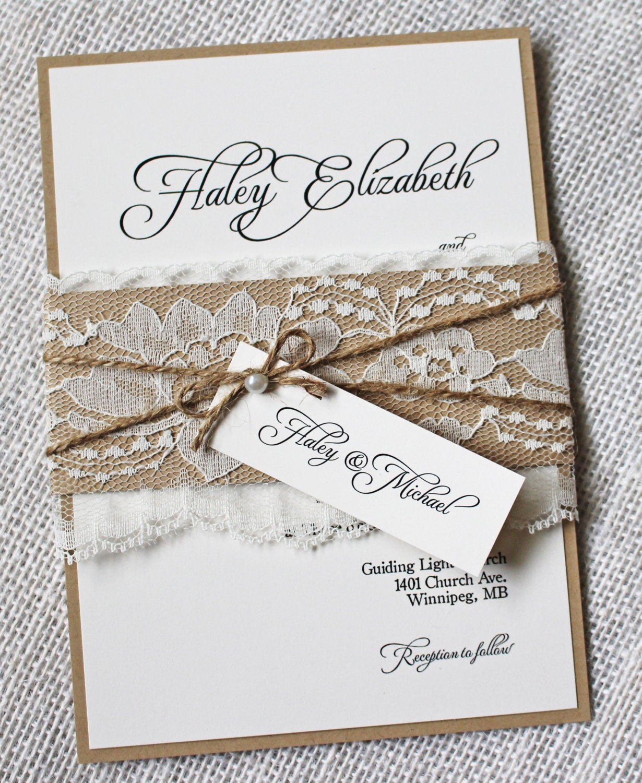 Rustic Wedding Invitations: Lace Wedding Invitations Rustic Wedding Invitation Elegant