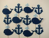 12 Navy Blue and Light Blue Anchor and Whale Nautical Cupcake Toppers, for Birthday or Baby Shower