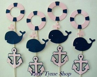 12 Light Pink and Navy Blue Nautical Cupcake Toppers,Whale,Anchor,Life Preserver