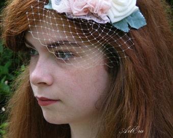 Bridal fascinator, Vintage romantic bridal head piece, bridal mini veil,  vintage rose,  lace flower bridal veil, woodland fascinator