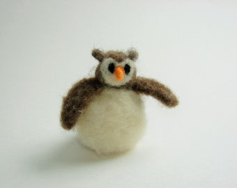 Needle Felted Wool Fat Owl
