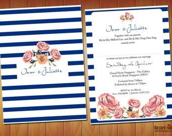 Blue Stripes Vintage Floral Wedding Invite - Printables