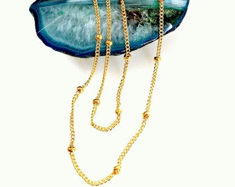 14k Gold Filled Satellite Chain Finished Gold Chain dainty necklace gold beaded chain