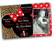 Minnie Mouse Invitations, Minnie Mouse Birthday, Red Minnie Mouse invitations, Minnie Mouse party, Cheetah