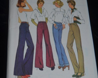 Vintage 70s Style 1300 Misses Trouser Sewing Pattern - UNCUT - Size 8 or Size 12  or Size 14