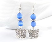 Butterfly Charm, Dangle Earrings, Blue and Silver, Cat's Eye Beads, Nature Earrings, Pretty Accessories, Summer Accessories