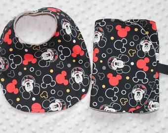 Baby Bib & Burp Cloth Set, Mickey, Disney Inspired, Red and Black, Baby Boy Gift, Baby Girl Gift, Gender Neutral Baby Gift