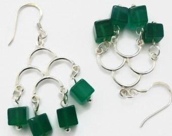 Green onyx earrings, onyx earrings, green gemstone earrings, silver chandelier earrings, silver earrings UK, green onyx jewelry, gem earring