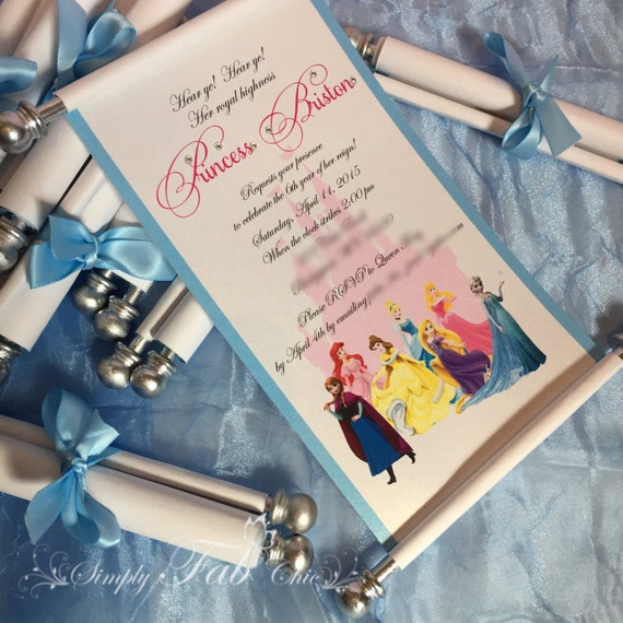 Disney Princess Scroll Invitation Birthday Invitation Handmade – Princess Scroll Birthday Invitations