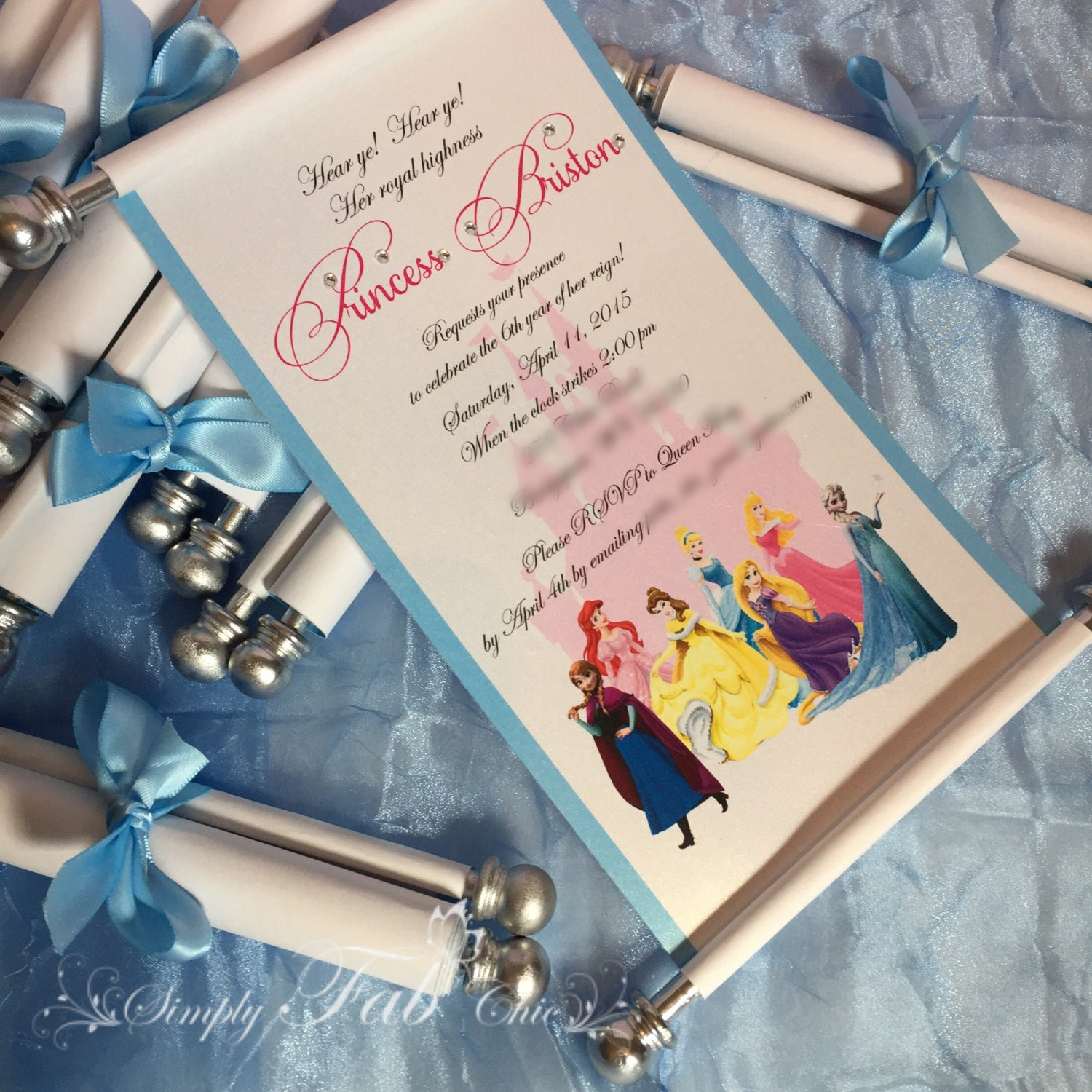 Disney Princess Scroll Invitation Birthday Invitation Handmade