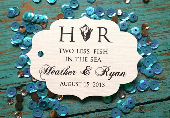 Items similar to beach wedding favor tags two less fish for Two less fish in the sea