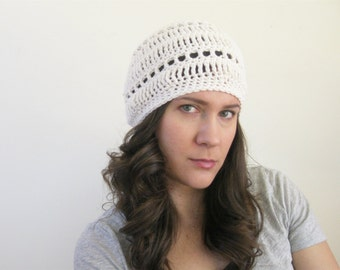 Cotton Slouchy Beanie | Summer Beret | Lightweight Beanie | Crochet Spring Hat | Gifts Under 25 | More Colors Available