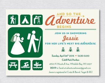 And So The Adventure Begins | Rustic Camping/Hiking/Park Bridal Shower