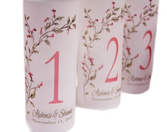 Wedding Table Number Luminaries, Wedding Luminary, Candle Wraps, Table Numbers, Rustic wedding decor, Table Centerpiece, luminary Set of 20