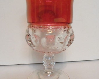 """Kings Crown Ruby Stained 5 5/8"""" Goblet"""