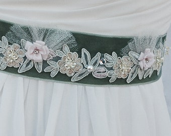 Vintage Style Velvet Ane Lace Bridal Sash-Wedding Sash WIth Tulle And Swarovski Crystals & Pearls In Moss Green And Blush