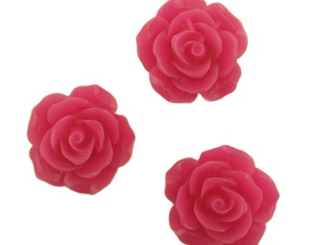 Set of 12 Magenta Hot Pink Rose Blossom Resin Flower Flat Backed Cabochon Kawaii Decoden Valentine's Day PF5