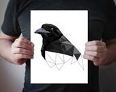 Raven Print, Black Print, Crow Print Art, Raven Poster, Bird Prints, Black and White Wall , Bird Wall Decor, Raven Decor , corvus  B53