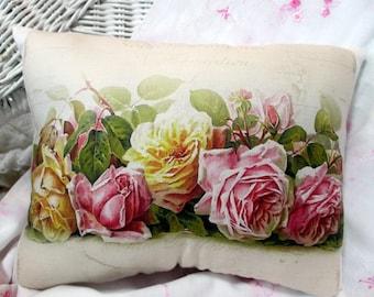 Pink Roses Pillow, DeLongpre ROSES,Shabby Roses Pillow, Paul DeLongpre Decor