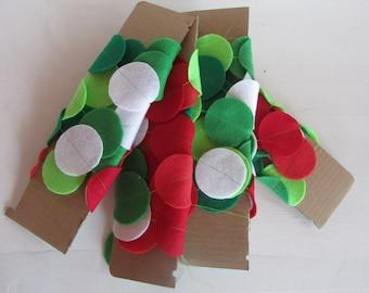 Christmas Felt Garland - 6 ft of felt circles strung together