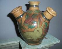 Antique Persian Handpainted Ceramic Bottle Vase Jar Iran