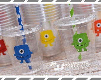 Little Monster Birthday Party, Set of 8 or 12 You Choose Party Cups, Favor Cups or Reusable Souvenir Cup
