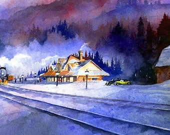 Waiting at the Station- Steam Train Watercolor Art Print. Snow Scene. Barn. Vintage Cars Classic Cars. Old Train Painting. Ultramarine Blue