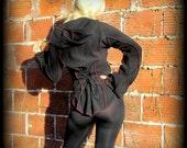 Elven Hoodie Pixie Coat w/Corset Lacing ~  PsyTrance Burning Man Festival Style ~ Black Red Fleece ~ Pointed Sleeves Hood Elf Fairy