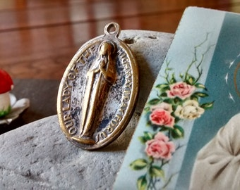 Vintage gift set Our Lady the Highway Mary medal pendant holy prayer card & St Christopher religious Graduation Dad travel birthday jewelry