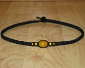 Mens Black Hemp Choker Necklace - Yellow Orange Beads - Teen Boy Gift for Boyfriend Necklace for Him - Husband Gift - Male Jewelry for Men