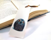 Bookmark cardboard hand painted stone owl photography , brown and tangerine