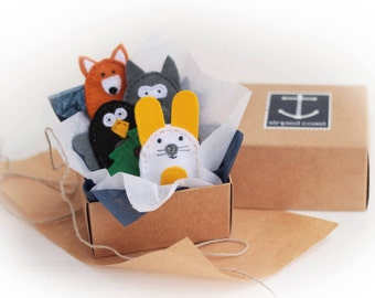 Forest Animals Finger Puppets, Finger Puppets, puppet theater, Felt finger puppet, Waldorf toy, Montessori toy, party toy