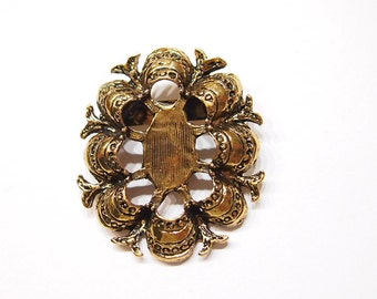 4 of 25x18 mm Antique Gold Old Victorian Style Pin or Brooch Settings, for Cameos, Cabs, Glass, Tile
