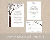 Love Birds Wedding Invitation Suite: Invitation, Response Card & Info Card - Downloadable Files