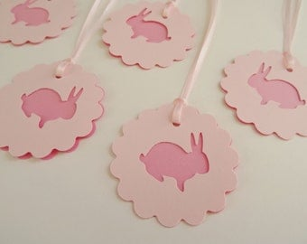 Pink Baby Bunny Shower Birthday Gift Bag Tags,  Scalloped Round Baby Girl Gift Bag Tags, Set of 6