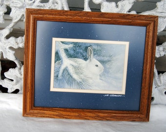 48 HR SALE - Mike Monroe Art - Framed, Rabbit in Forest - Signed - 1990's  - Stunning Authentic!