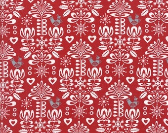 Folk Art Holiday - Red by Gina Martin - 1/2 metre cut off the bolt