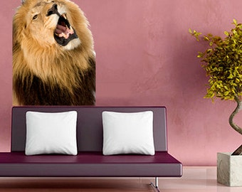 wsd151 - Roaring lion animal removable wall sticker - Animal photo wall decal
