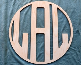 Wooden Monogram - Wood Monogram - Circle Monogram connected with Border - Ready To Paint - Great for BOYS!- any size