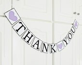 FREE SHIPPING, Thank You banner, Bridal shower banner, Wedding banner, Engagement party decoration, Wedding signs, Photo prop, Purple hearts