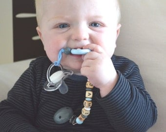 Pacifier clip, personalized pacifier clip, gray blue wood pacifier clip, beaded pacifier clip, pacifier holder, boy pacifier clip,