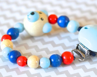 Pacifier clip, blue pacifier clip, bear, beaded pacifier holder, pacifier clip, boy pacifier clip, bear pacifier clip, boy soother clip