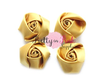 """Gold Satin Rolled Rosettes- Lot of 4- Satin Rolled Rosettes- Mini Rolled Rosettes- 1.5"""" Rosettes- Supply Shop- Flower Headband Supply- DIY"""